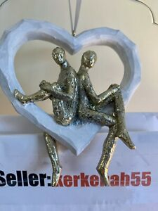 Next Couple On Heart Hanging Decoration Gold Metallic White Goes Sculpture