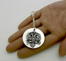 New 925 STERLING SILVER key chain Imperial Russian Double Head Eagle Russia