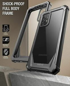 For Samsung Galaxy A72 Case Clear Back Shockproof Cover 360 Full Coverage Black