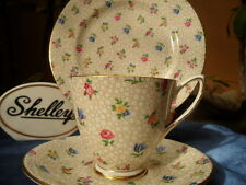 SHELLEY FLORAL CHINTZ   CARLISLE  FOOTED CUP,  SAUCER & PLATE   GOLD TRIM