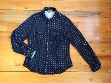 DALIA COLLECTION 100% Cotton Blue Button Down Blouse Heart Design Sz M EUC!