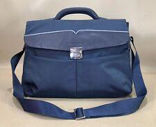 "Maserati Blue Nylon with Leather Trim 15"" Laptop Briefcase Messenger Bag"