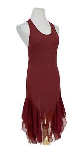 FREE PEOPLE $98 Womens Slip Dress Tattered Frayed Tiered Hem Lace Jersey Wine S