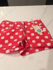 New Mini Boden Girls Bubblegum Pink Polka Dot Shorts Size 4 Y