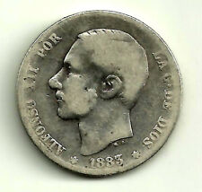 ALFONSO XII. 1 PESETA DE 1883*(-----) MADRID MS-M (BC-) PLATA