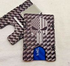 Punisher Flag, Carbon Pattern, Wallet/ Credit Card Holder, ,Alum, RFID Protected