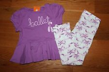 NWT Gymboree Center Stage 6-12 mo Set Purple Ballet Shirt Top Pink Bow Leggings