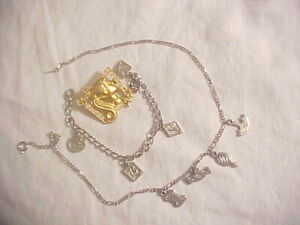 Vintage Barbie Doll Jewelry  Unmarked Charm Bracelet, Necklace, Avon Barbie Pin