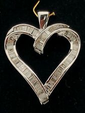 10K White Gold Open Heart Charm Pendant with Natural 1.00ct Baguette Diamonds