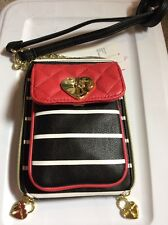 $68 Betsey Johnson Swag North South Crossbody Heart Charms BUP7