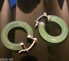 T36. Green jade jadeite creole hoop earrings 14g, 5mm x 28mm, Plum UK Gift Boxed