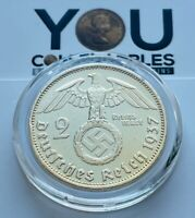1937 Germany Third Reich 2 Reichsmark A Berlin Silver Coin - 24K GOLD Plated