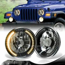 """7"""" Round H6014/H6017/H6024 Yellow LED Ring Black Crystal Glass Lens Headlights"""