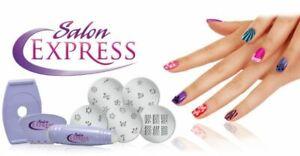 Salon Express Deluxe Manicure Pedicure Nail Polish Clipper Stamp Kit 10 Design