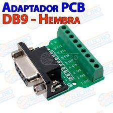 Adaptador conector DB9 Hembra socket con terminales tornillo serie RS-232 PCB