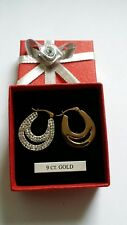 9ct gold double loop crystal Creoles
