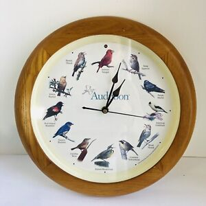 "Audubon Society Singing Bird 8"" Wall Clock - Light Brown Frame Working Condition"