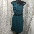 Lauren Conrad womens 10 dress one shoulder bow ruffle dress green holiday