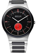 Bering Mens 31940-729 Ceramic Black Dial Silver Stainless Steel Band SS Watch