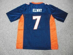 JOHN ELWAY Unsigned Custom Denver Blue Sewn Football Jersey Sizes S-3XL