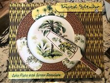 Tropical Spendor Cake Plate With Server - Porcelain with Beautiful Design
