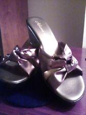 Athena Alexander Open Toe Wedge Heel Slip on  Sandals Metallic Bronze Twist NWOT