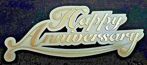 "Gold ""HAPPY ANNIVERSARY""  Cake Topper Cupcake Dessert Decor Supplies"