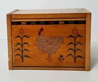Vintage Kamenstein Wooden Recipe Box with Chicken Farmhouse Card Dividers 1998