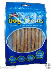 LAZY BONES GLUTEN FREE LOW FAT RAWHIDE DOG CHEW TREATS WITH DRIED CHICKEN