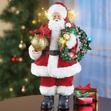 Lighted Fiber Optic Santa Claus with Wreath Christmas Table Statue