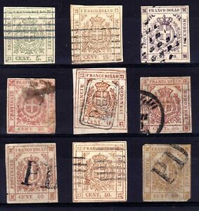 ITALIAN STATES: MODENA 1859 CROSS OF SAVOY USED SELECTION, 9 STAMPS