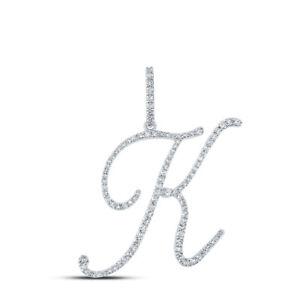 10kt White Gold Womens Round Diamond K Initial Letter Pendant 1/2 Cttw