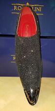 Men's Rossellini Benitez Carlo Metal Toe Winkle Pickers Black Slip on Shoes