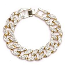 Mens Gold Plated Cuban Link Bracelet Iced Out Chunky New 2 Row Hip Hop Bling