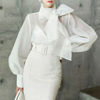 Vogue Womens Organza Bowknot Lace Europe Puff Sleeve Tops Shirt Blouse Gown 2019
