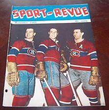 Sport Revue November 1955  Bernie Geoffrion / Jean Beliveau / Maurice Richard