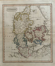 1826 DENMARK HAND COLOURED ANTIQUE MAP BY JOHN CARY 194 YEARS OLD