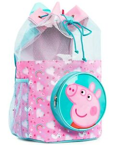 Peppa Pig Drawstring Bag Swimming Backpack with Zipped Front Pocket for Girls