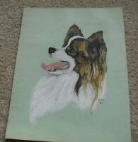 Original Vintage 1970 PDP Signed Pastel Long Hair Chihuahua Dog Painting