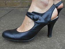 NEW LOOK ladies womens black leather heels formal special occasion office size 6