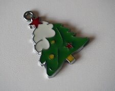 Christmas Tree Pendant Charm,Green, Silver tone & Enamel,Make Your Own Necklace