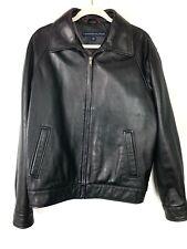 Tommy Hilfiger Mens Black Genuine Leather Zip Jacket Size Medium