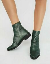FREE PEOPLE SHOES AMARONE ANKLE BOOT GREEN LEATHER METALLIC 38 NEW NIB