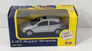 Motor Max Super Wheels Ford Focus Silver 1:43 Scale Diecast #73401 - New