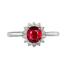 Fashion Rhodium Plated Red Large Oval AAA CZ Princess Kate Engagement Rings