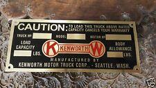 Kenworth Vintage COLOR Data Plate acid etched Brass