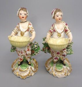 Rare Pair of Circa 1780's Derby Porcelain Girl with Basket Desert Dishes No. 292