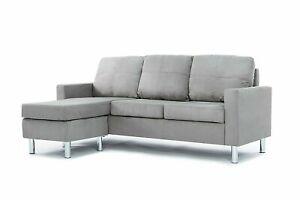 Modern Microfiber Sectional Sofa Small Gray