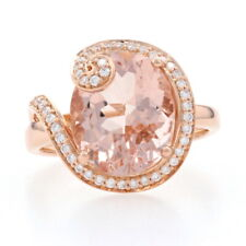 Rose Gold Morganite & Diamond Ring - 18k Oval Cut 4.93ctw Halo-Inspired Swirl