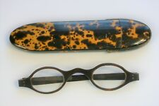 VINTAGE SPECTACLES CASE WITH SHELL READING EYEGLASSES, GOOD COND. C1930